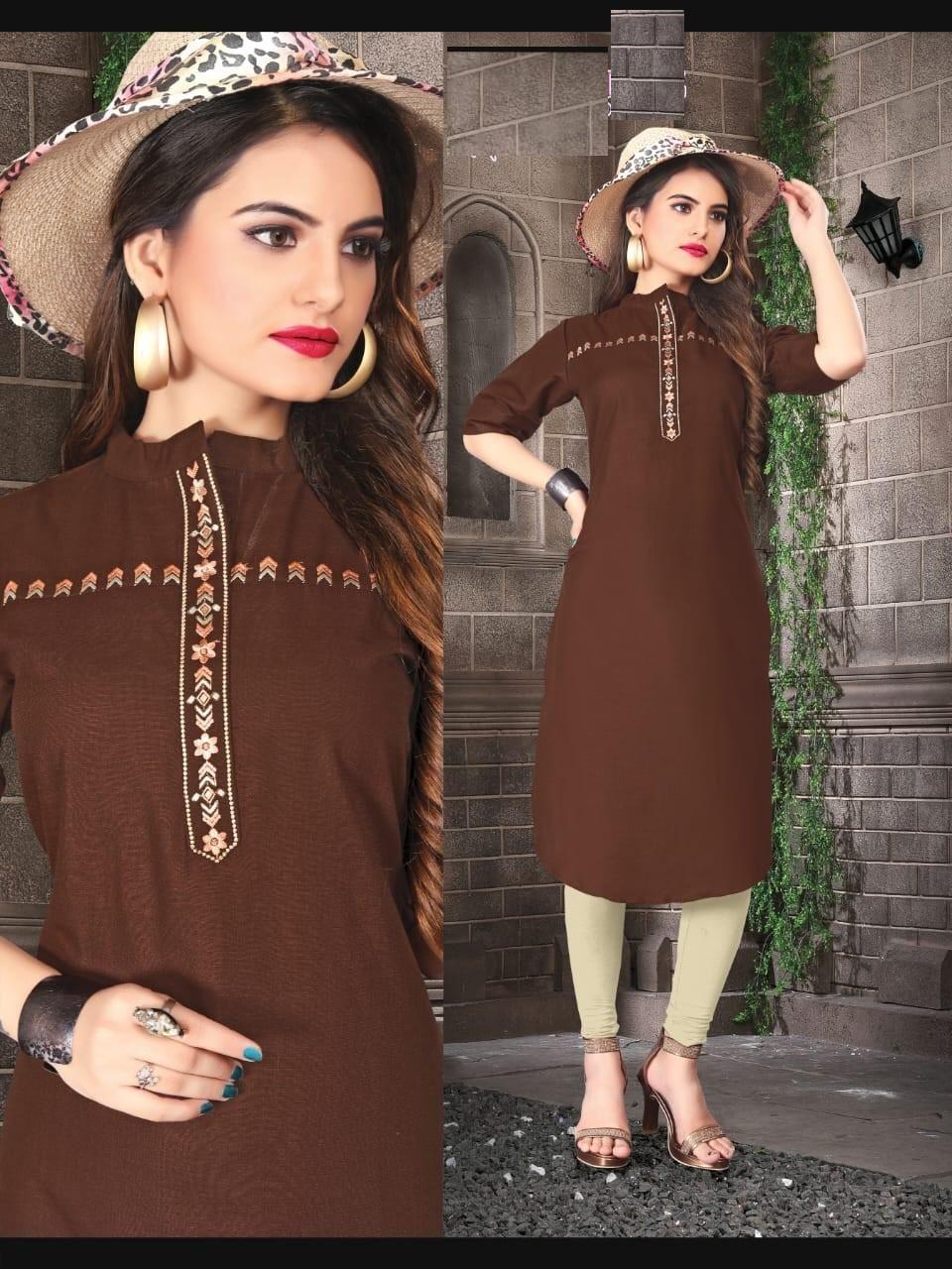 brown color kurti